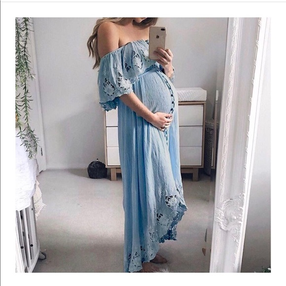2349e88a023 Maternity Casual Lace Off-Shoulder Dress